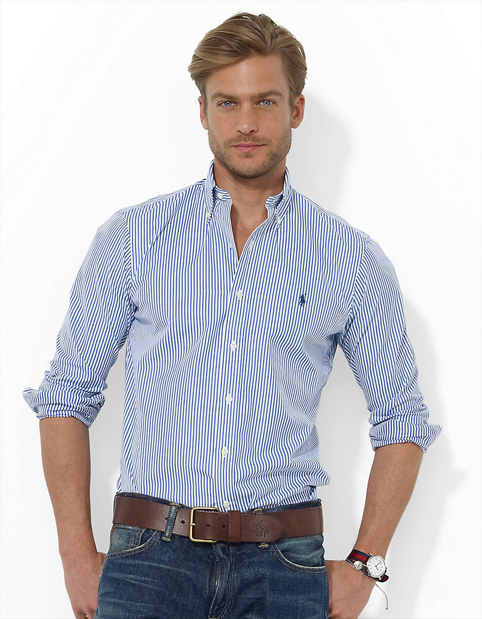 Polo ralph lauren custom fit striped sport shirt in blue for Blue striped shirt mens