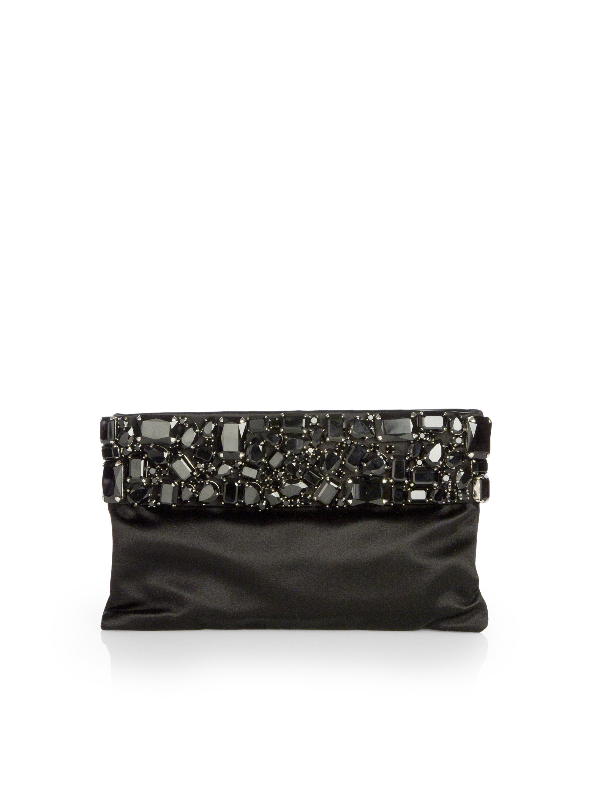 Prada Raso Jeweled Satin Clutch in Black (NERO-BLACK) | Lyst