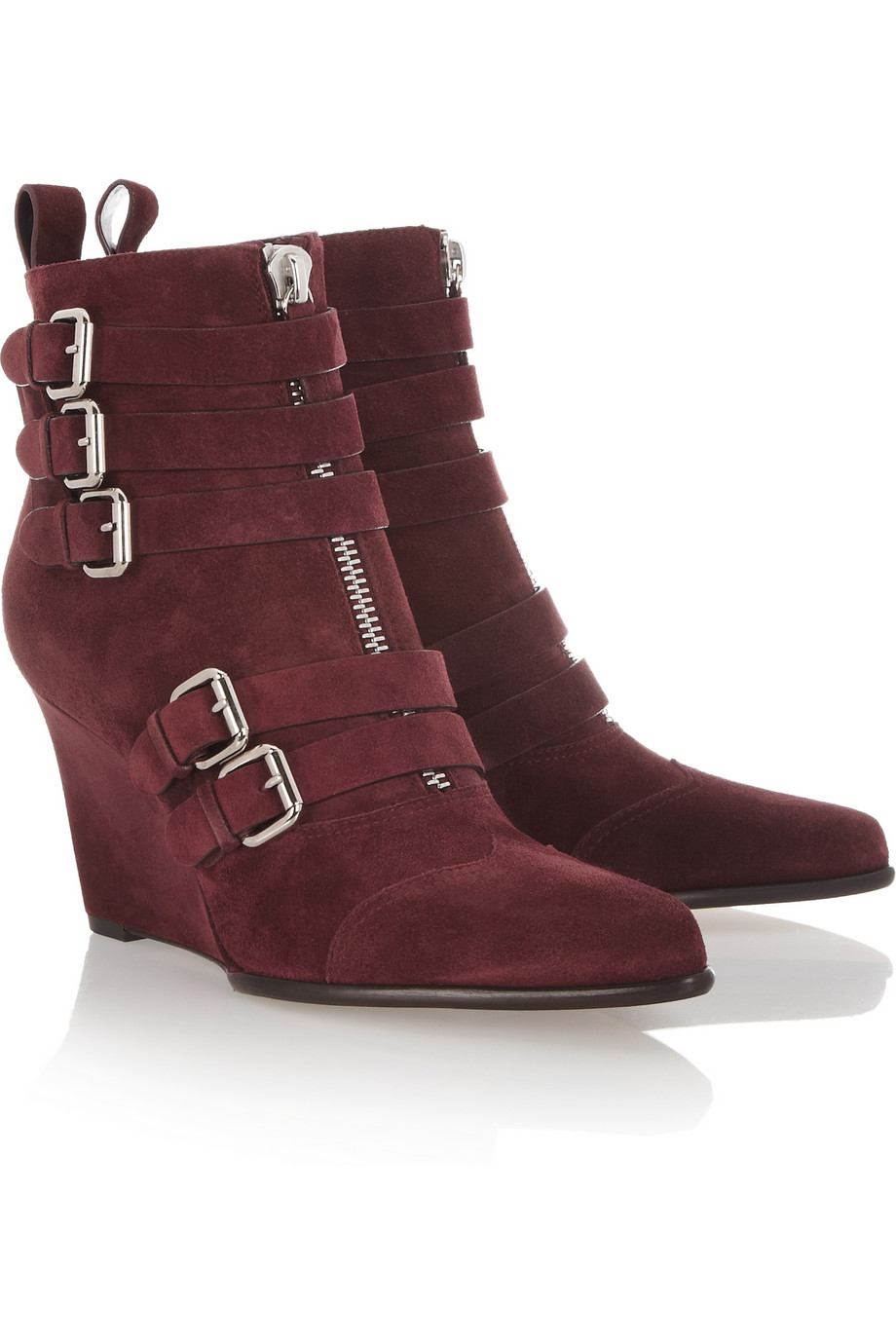 2312324e368 Lyst - Tabitha Simmons Harley Suede Wedge Ankle Boots in Red