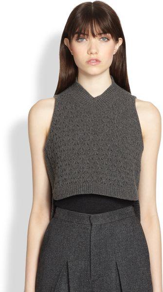 Theyskens Theory Kamean Yara Cropped Texturedpattern Wool