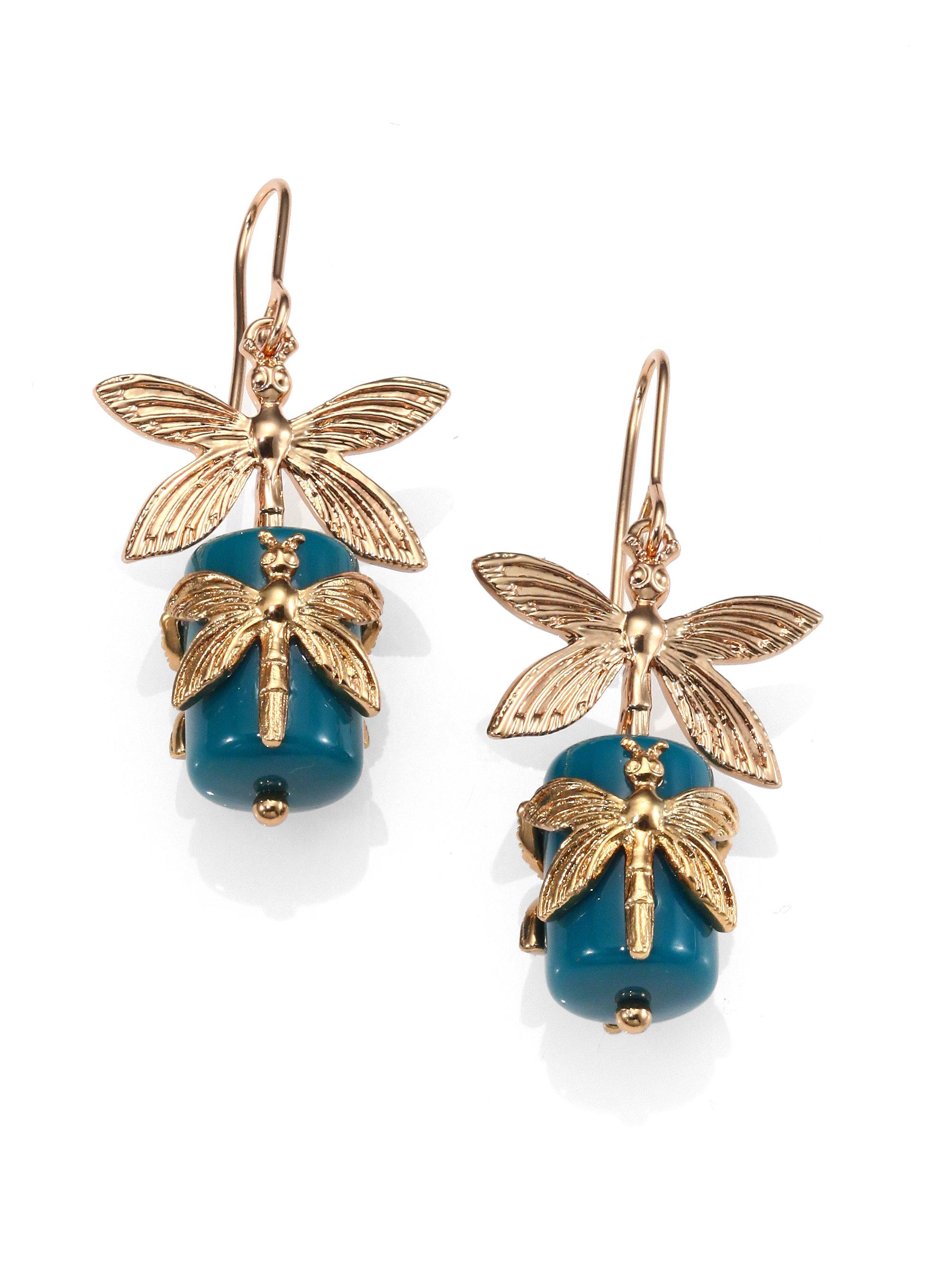 Tory Burch Dragonfly Drop Earrings In Blue Gold Blue Lyst