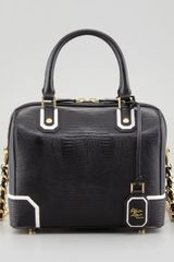 Alice + Olivia Olivia Lizardembossed Bag Blackwhite Alice Olivia - Lyst