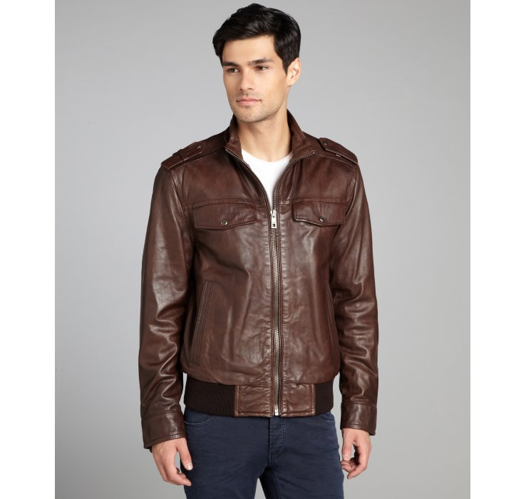 Andrew marc Dark Brown Leather Bomber Jacket in Brown for Men | Lyst