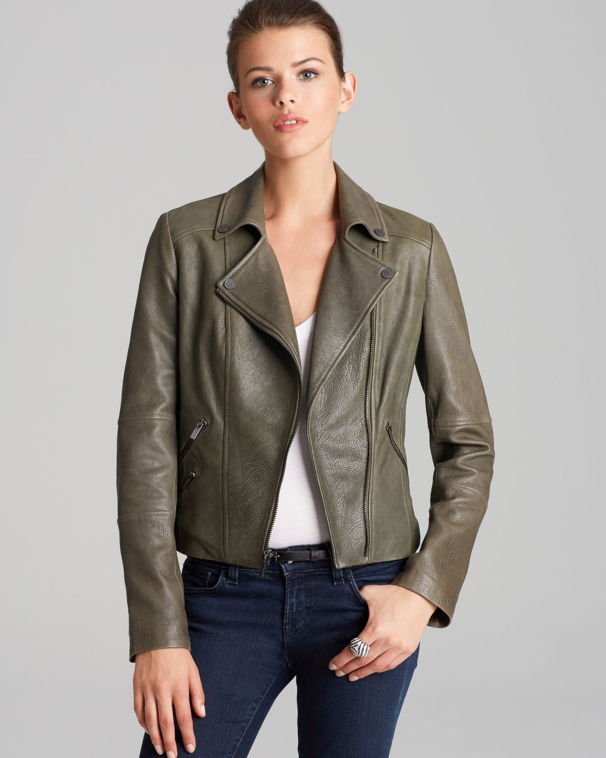 Bcbgmaxazria Leather Jacket Ella Asymmetric Zip Moto in Green | Lyst