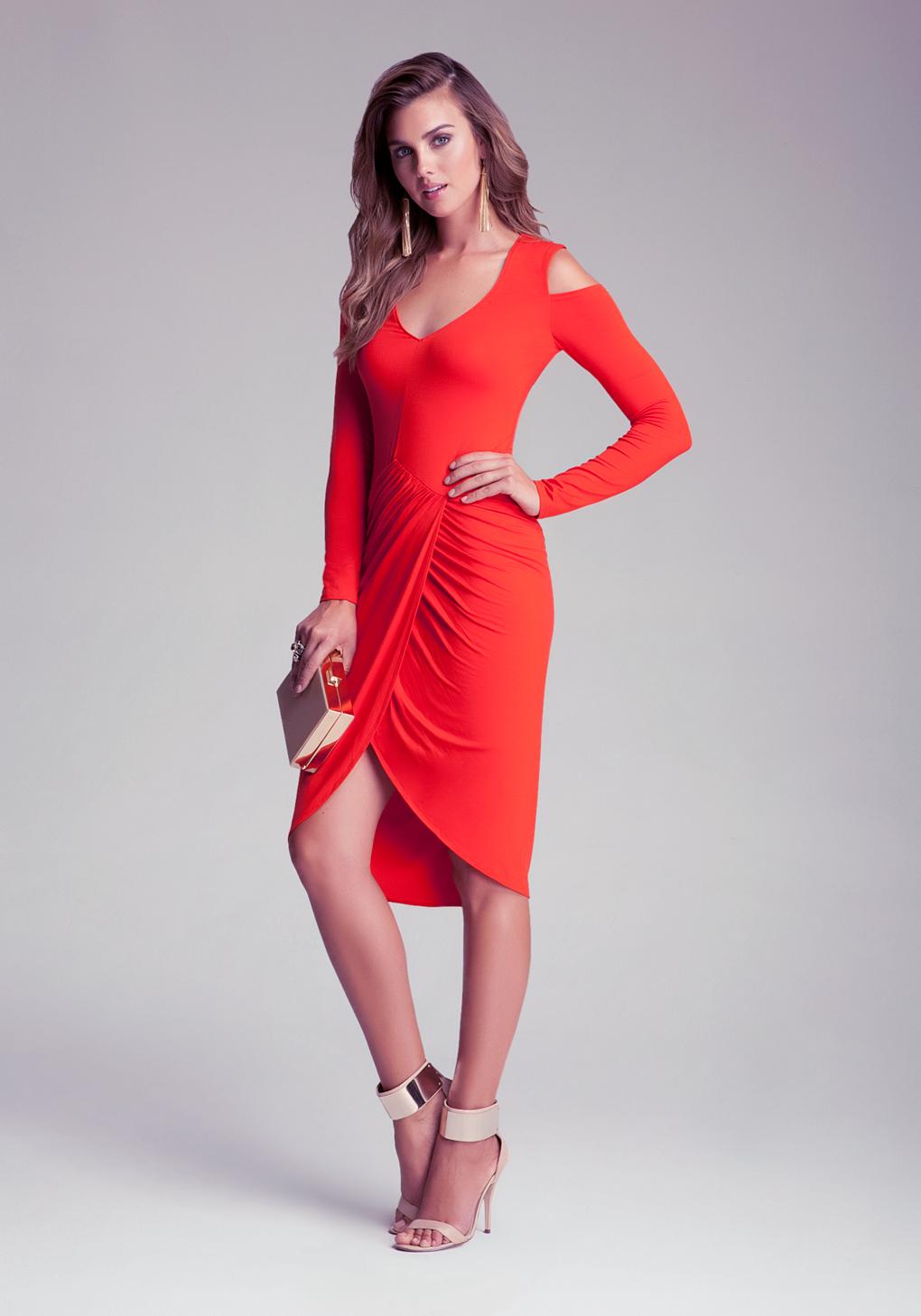 Lyst Bebe Emma Cold Shoulder Wrap Dress In Red