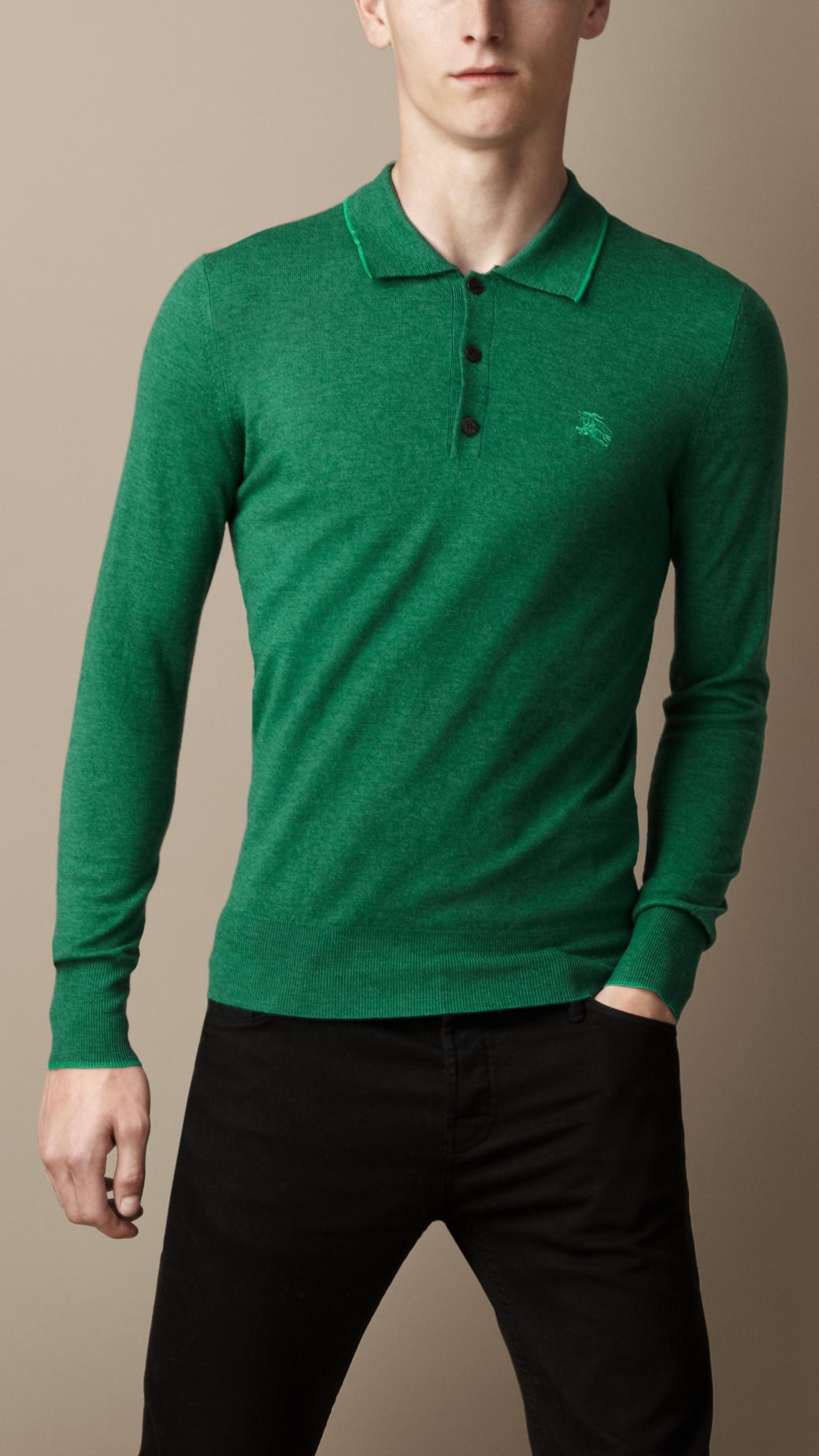 Burberry long sleeve merino wool polo shirt in green for for Long sleeve wool polo shirts