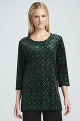 Caroline Rose Jeweled Velvet Tunic Petite - Lyst