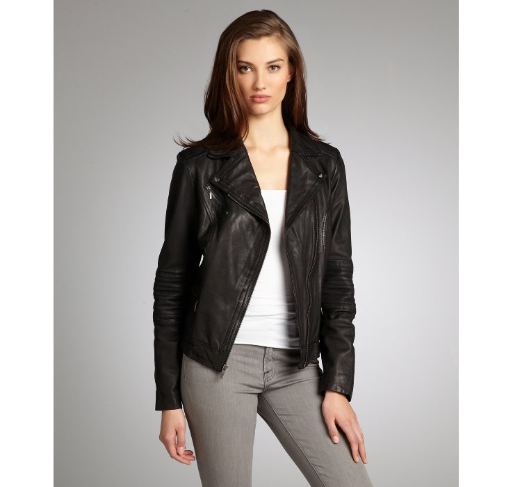 Lyst Cole Haan Black Leather Asymmetrical Zip Front Moto Jacket In