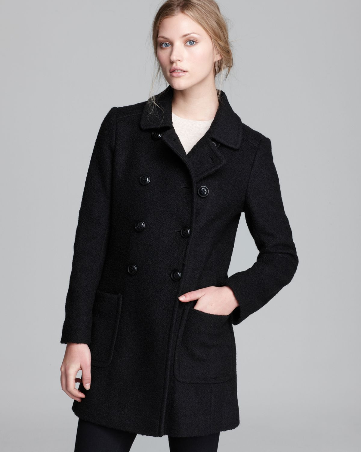 Lyst Dkny Coat Double Breasted Boucl 233 In Black
