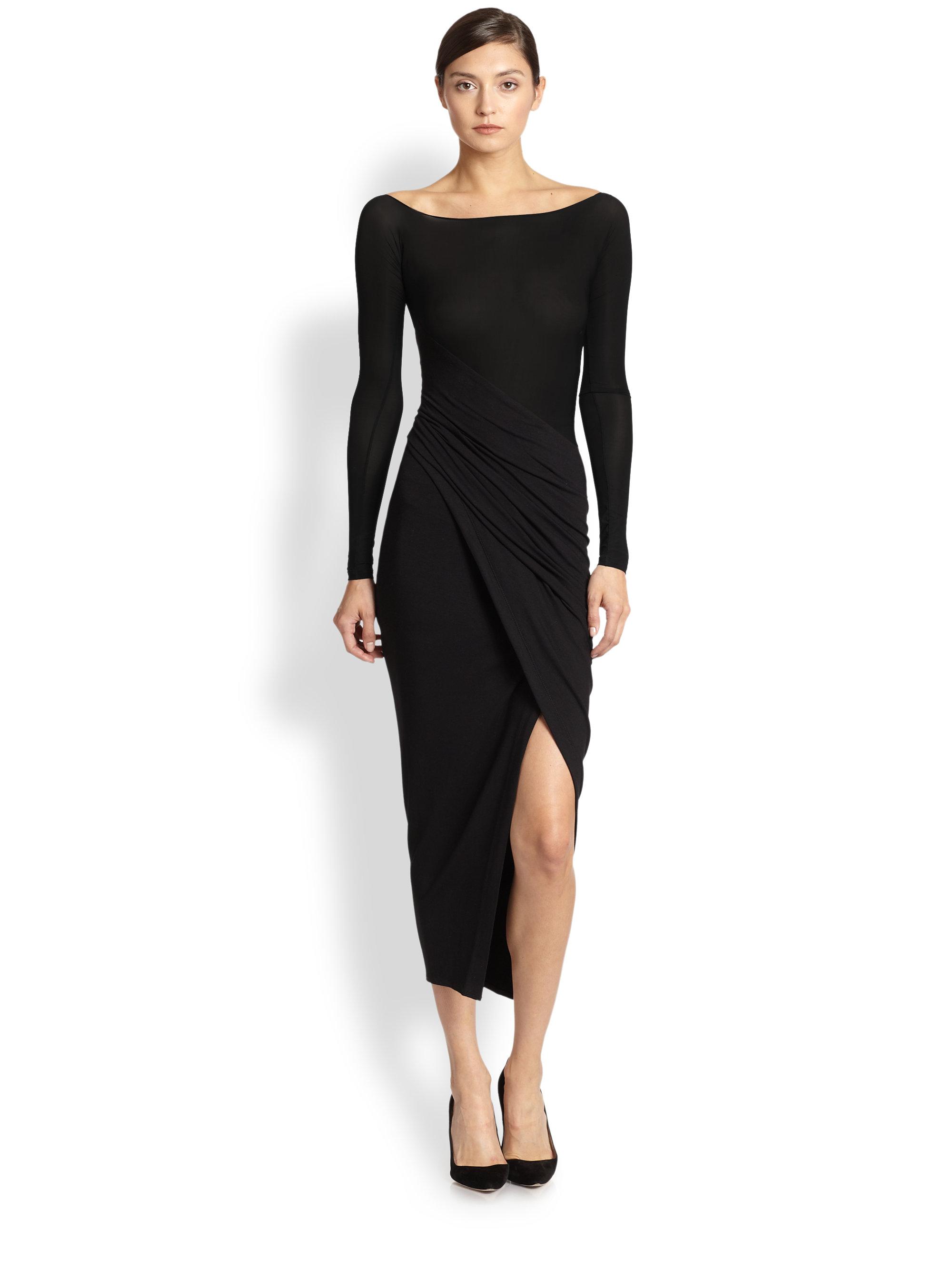 Lyst Donna Karan Spiral Drape Dress In Black