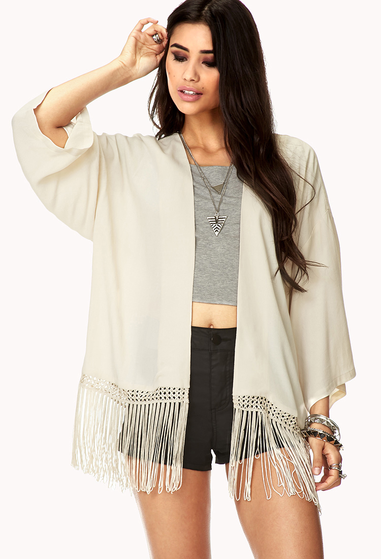 Forever 21 Crepe Woven Fringe Kimono Cardigan in Natural | Lyst