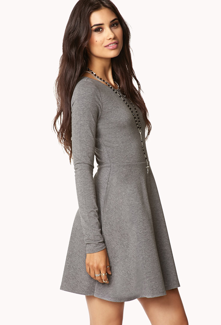 Lyst Forever 21 Casual Fit Amp Flare Dress In Gray