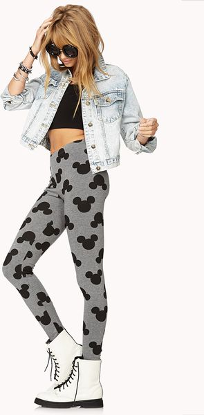 21 Mickey Mouse Nail Art Designs Ideas: Forever 21 Mickey Mouse Printed Leggings In Black (Heather