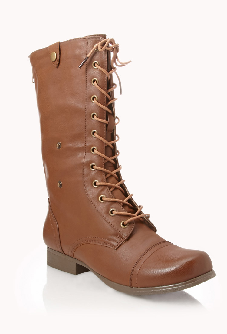 lyst forever 21 foldover combat boots in brown