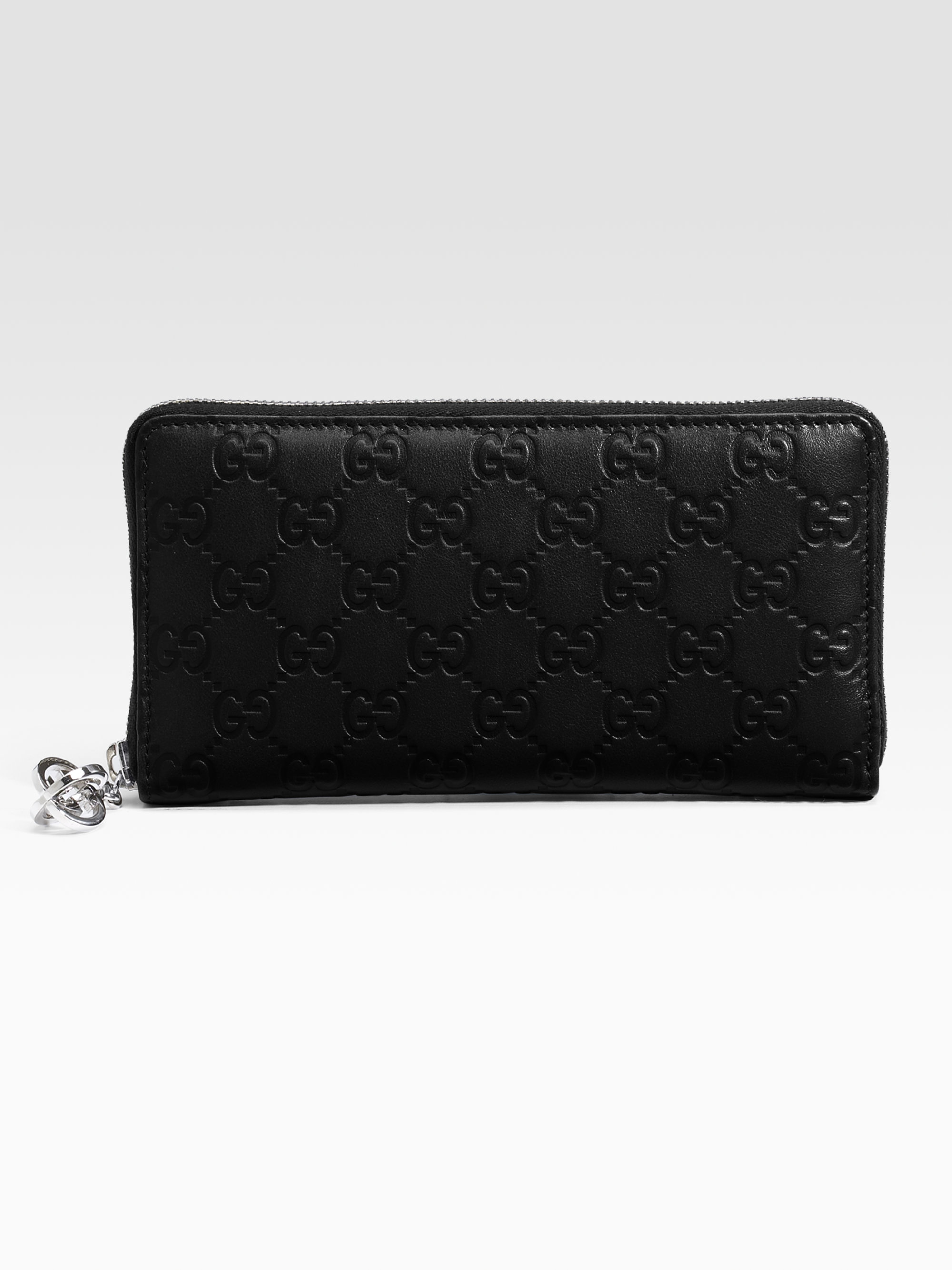 b321e3337061e3 Gucci Gg Twins Leather Zip Around Wallet in Black - Lyst