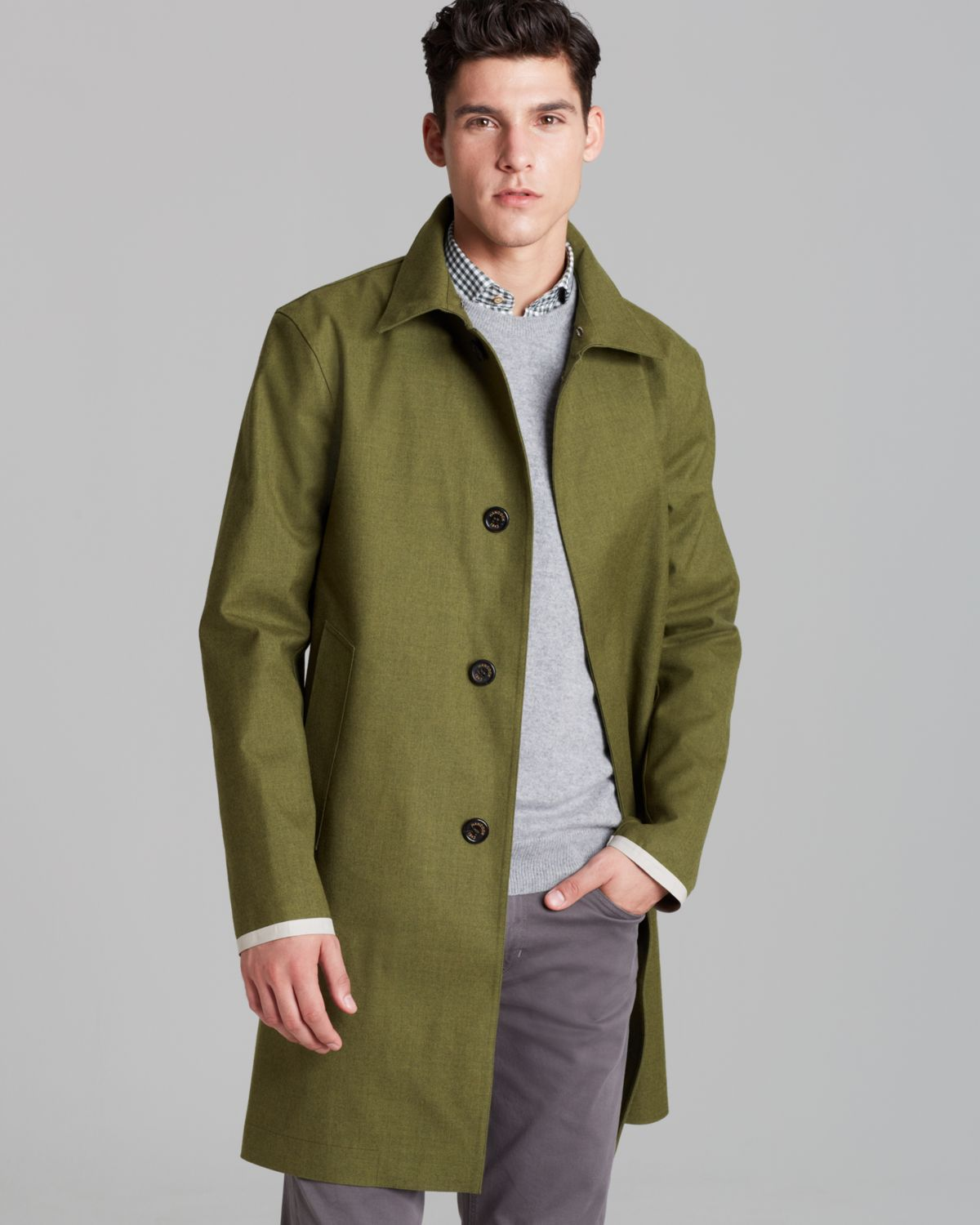 Hancock Classic Bonded Flannel Car Coat in Green for Men | Lyst