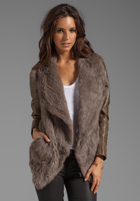 Faux Fur Coat With Leather Sleeves - Tradingbasis