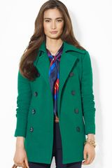Lauren by Ralph Lauren Wool Doublebreasted Peacoat - Lyst