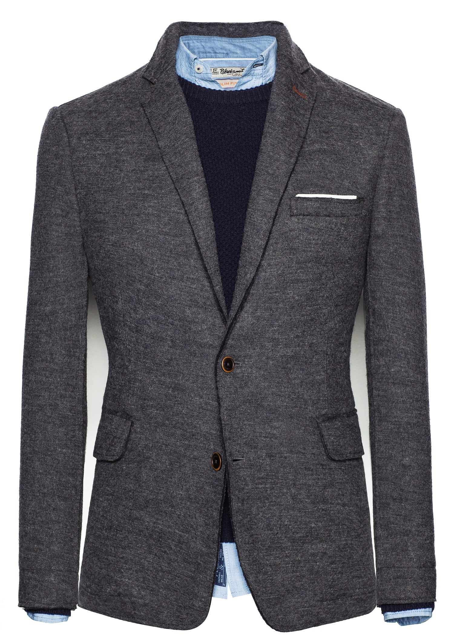 Mango Raw Edges Wool Blazer in Gray for Men | Lyst