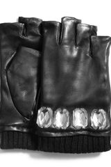 Michael by Michael Kors Fingerless Leather Gloves - Lyst