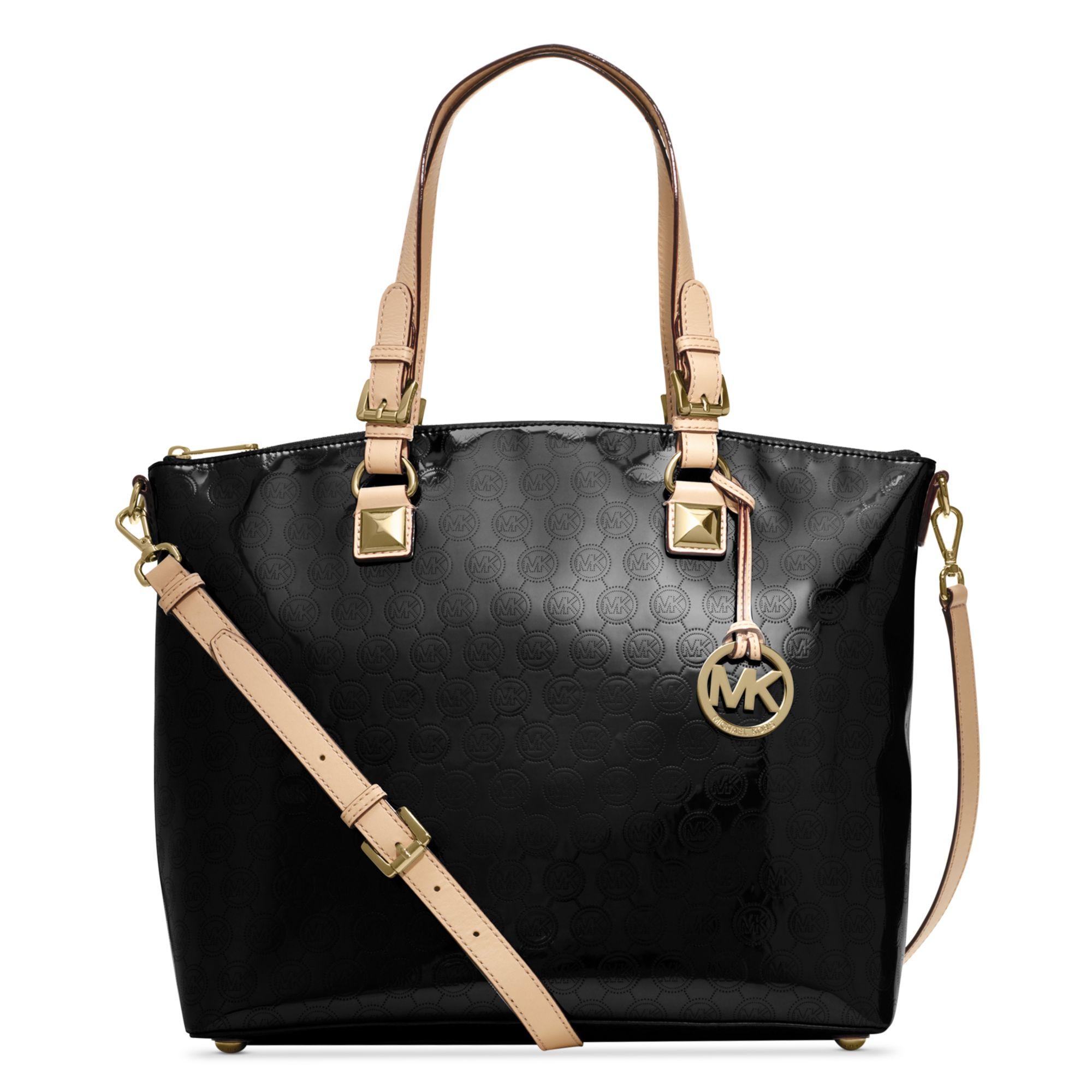 michael kors jet set item multi function satchel in black lyst. Black Bedroom Furniture Sets. Home Design Ideas