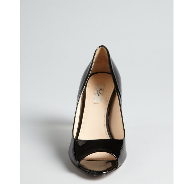 Prada Leather Peep-Toe Wedges sale big discount cheap Manchester dlZCXj