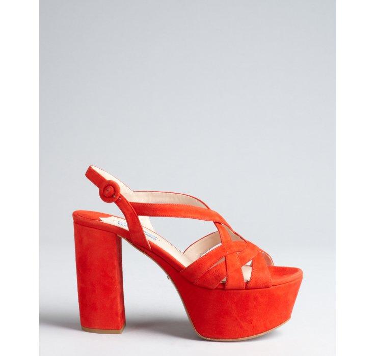 Suede Platform Sandals - Red Prada Discount Best Seller Discount 2018 New Perfect Choice Cheap Online QlrPuyc7p