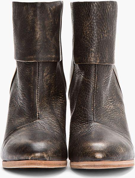 Rag Amp Bone Dark Grey Distressed Leather Newbury Ankle