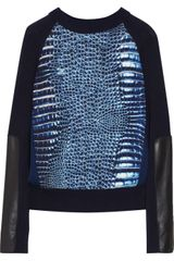 Reed Krakoff Alligator-print Crepe and Fine-knit Sweater - Lyst