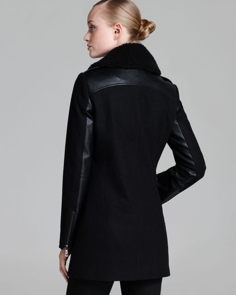 Sam Edelman Coat Leigh Moto Double Collar In Black Lyst