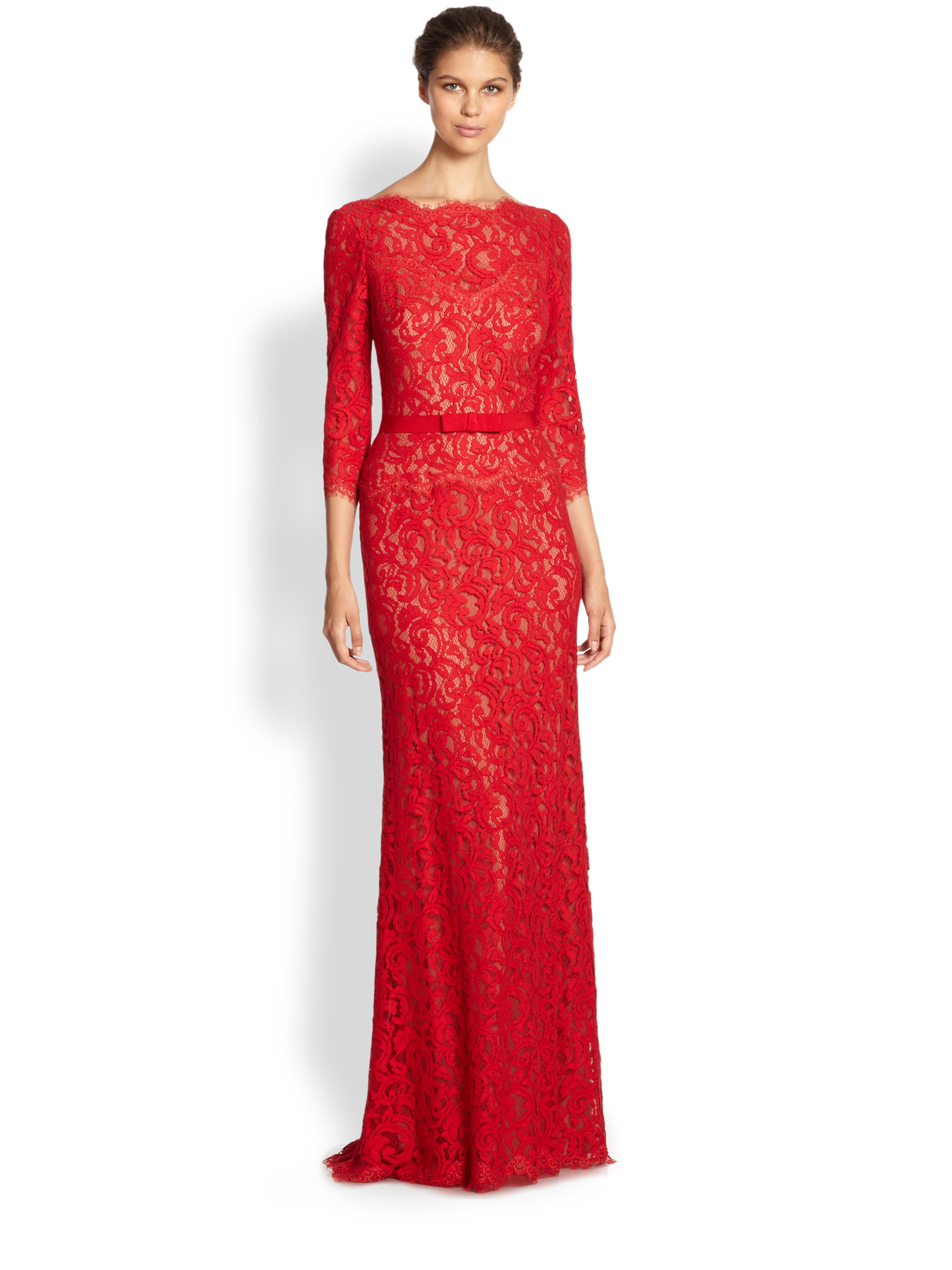 Tadashi shoji Illusion Lace Gown in Red  Lyst