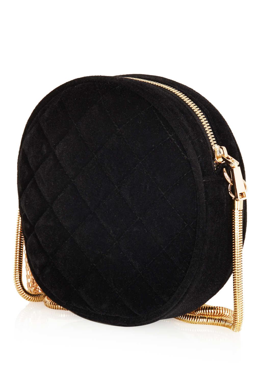 Lyst Topshop Round Velvet Crossbody Bag In Black