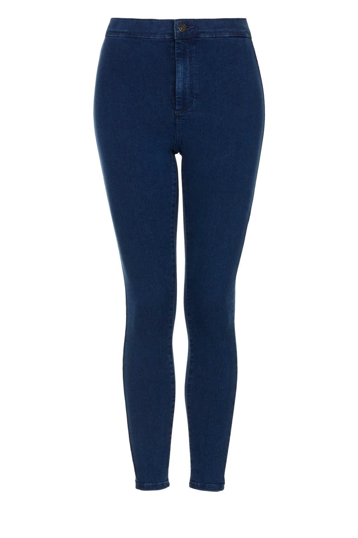 topshop petite moto high waisted jeans in blue dark stone. Black Bedroom Furniture Sets. Home Design Ideas
