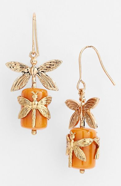 Tory Burch Dragonfly Drop Earrings in Orange (Amber/ Gold) - Lyst