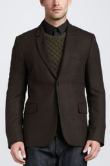 Vince Two Button Tweed Blazer Dark Spruce - Lyst