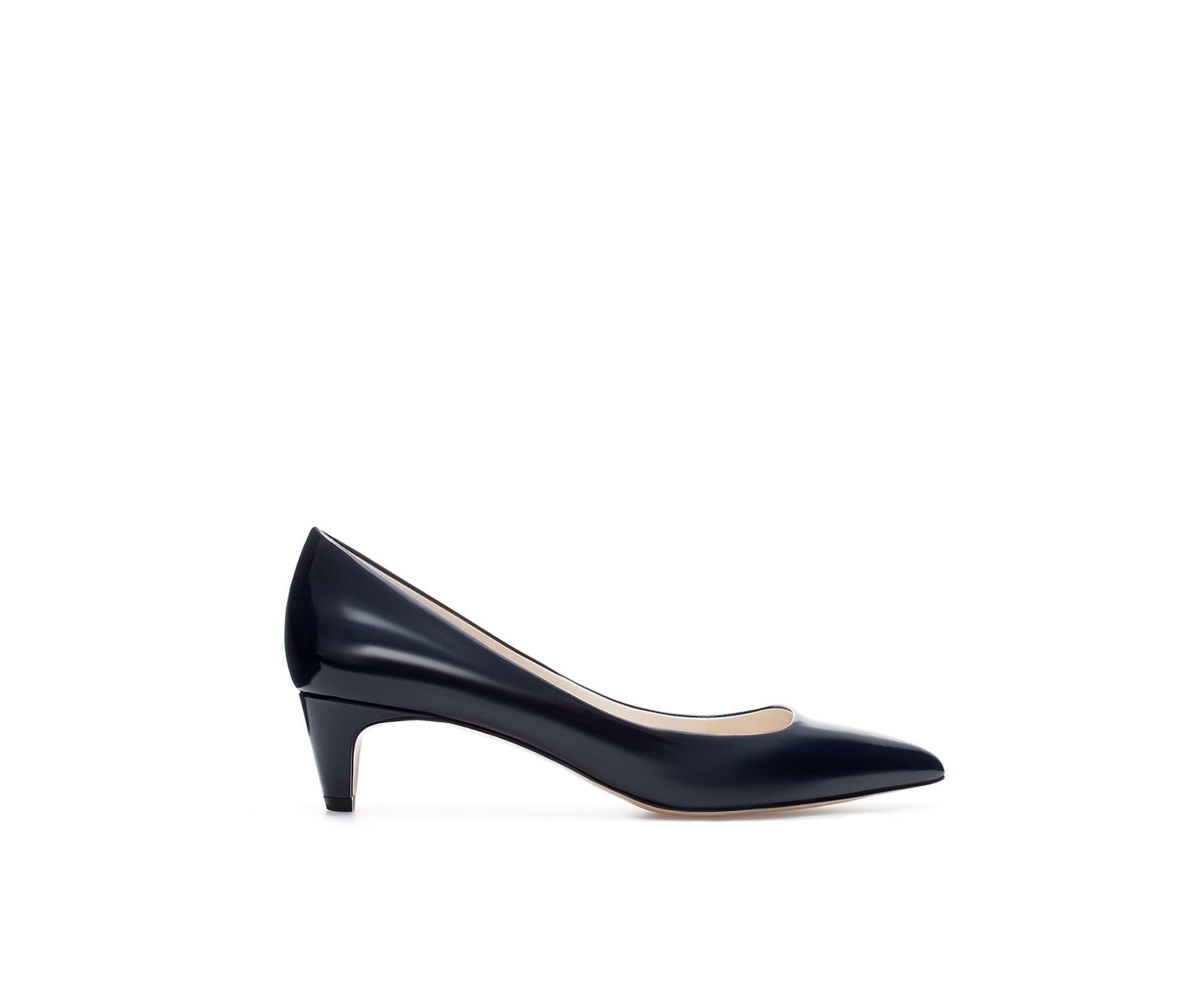 Navy Kitten Heel Court Shoes