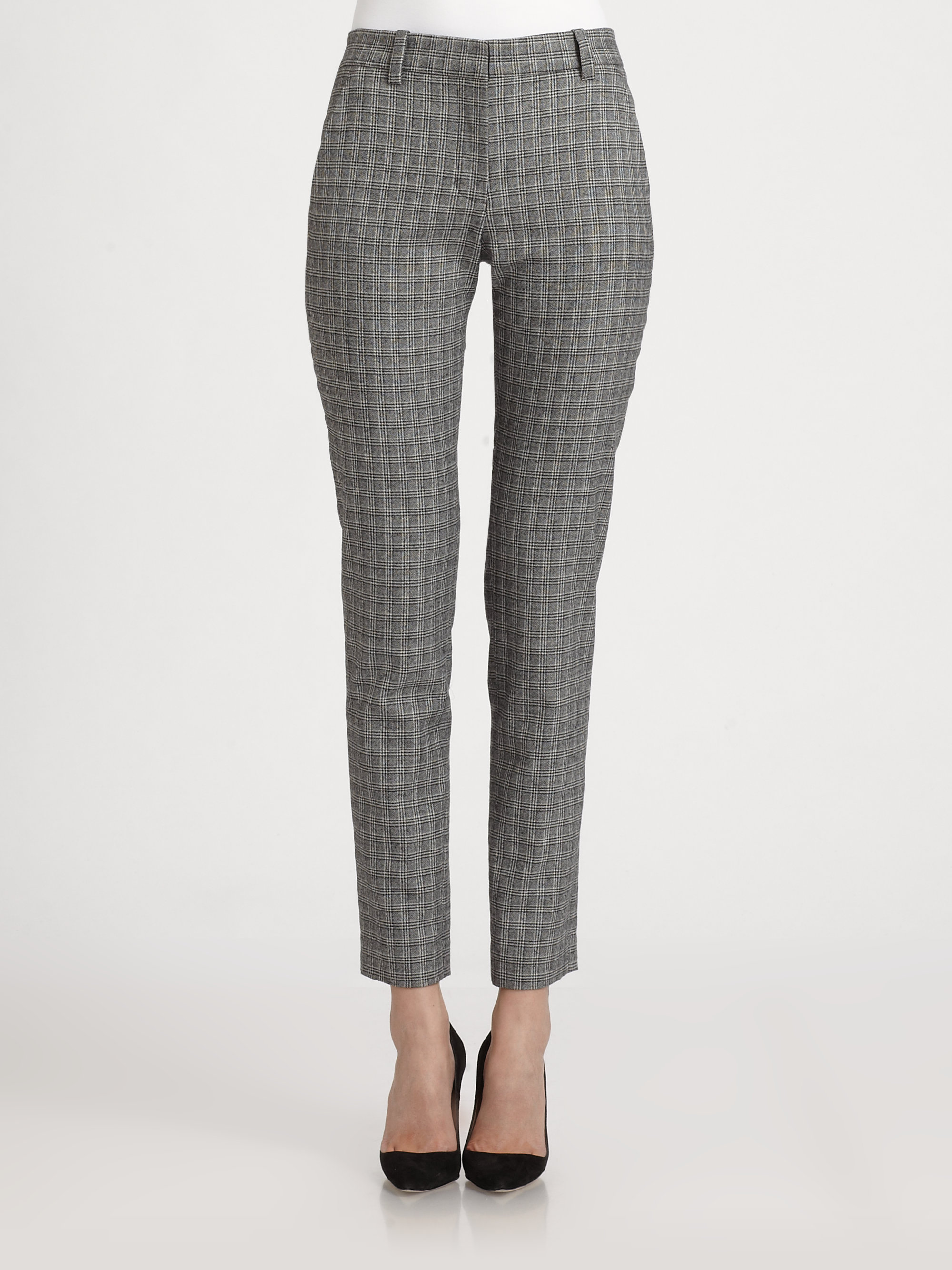 A.l.c. Lagance Plaid Ankle Pants in Gray | Lyst