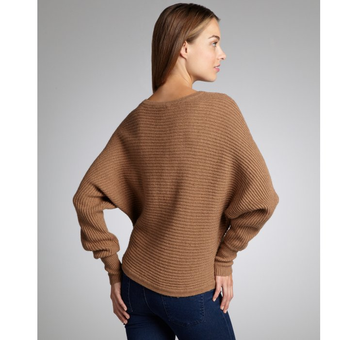Bcbgmaxazria Camel Ribbed Knit Dolman Sleeve Camille Cropped ...