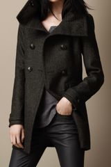 Burberry Felted Tweed Funnel Collar Coat - Lyst