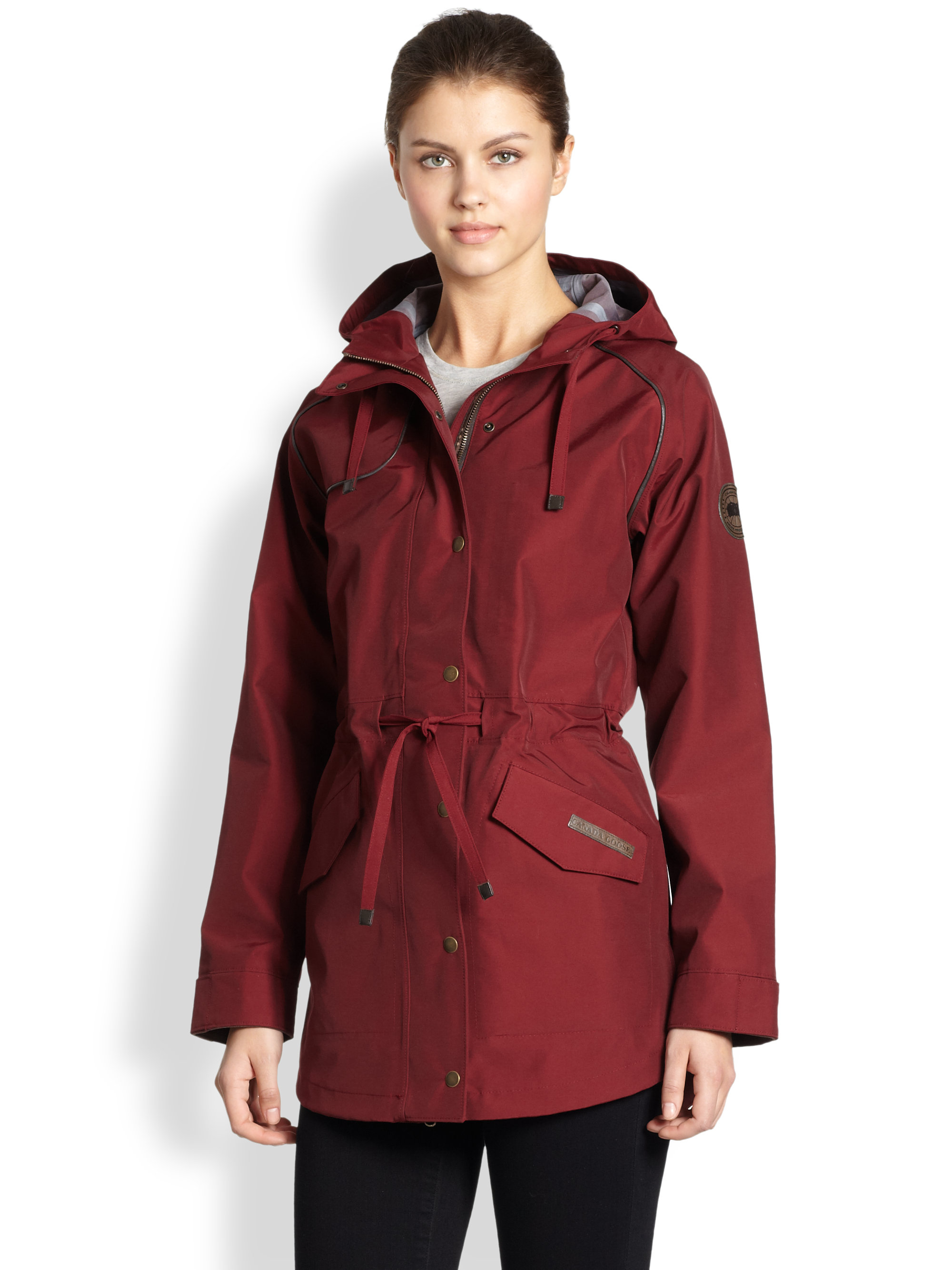 Canada goose Mirabel Leathertrim Rain Jacket in Red | Lyst