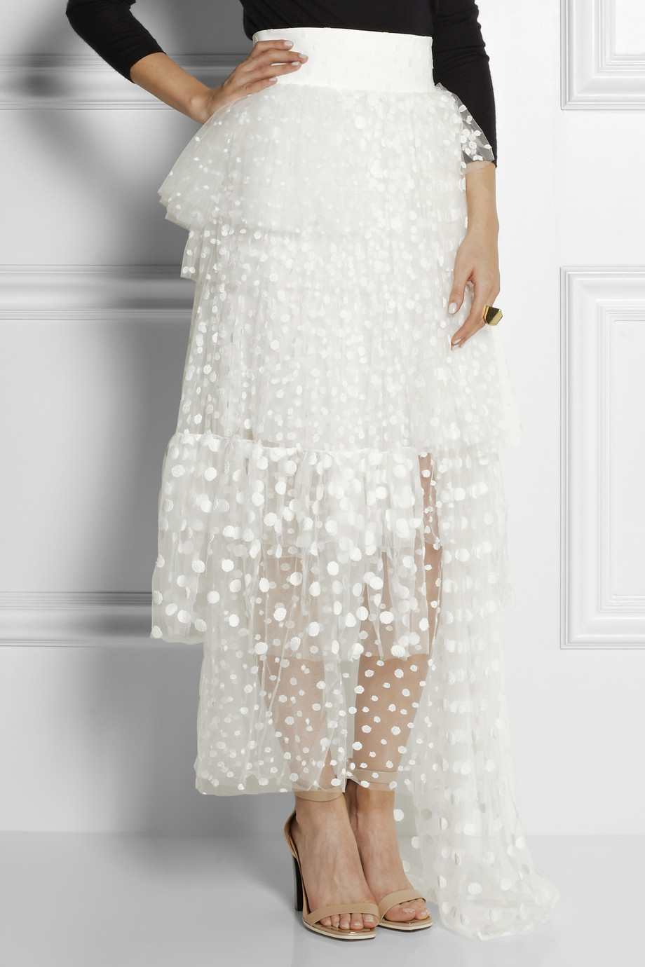 chlo 233 embroidered tulle maxi skirt in white lyst