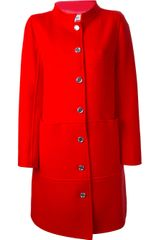 Courreges Courrèges Contrast Button Coat - Lyst