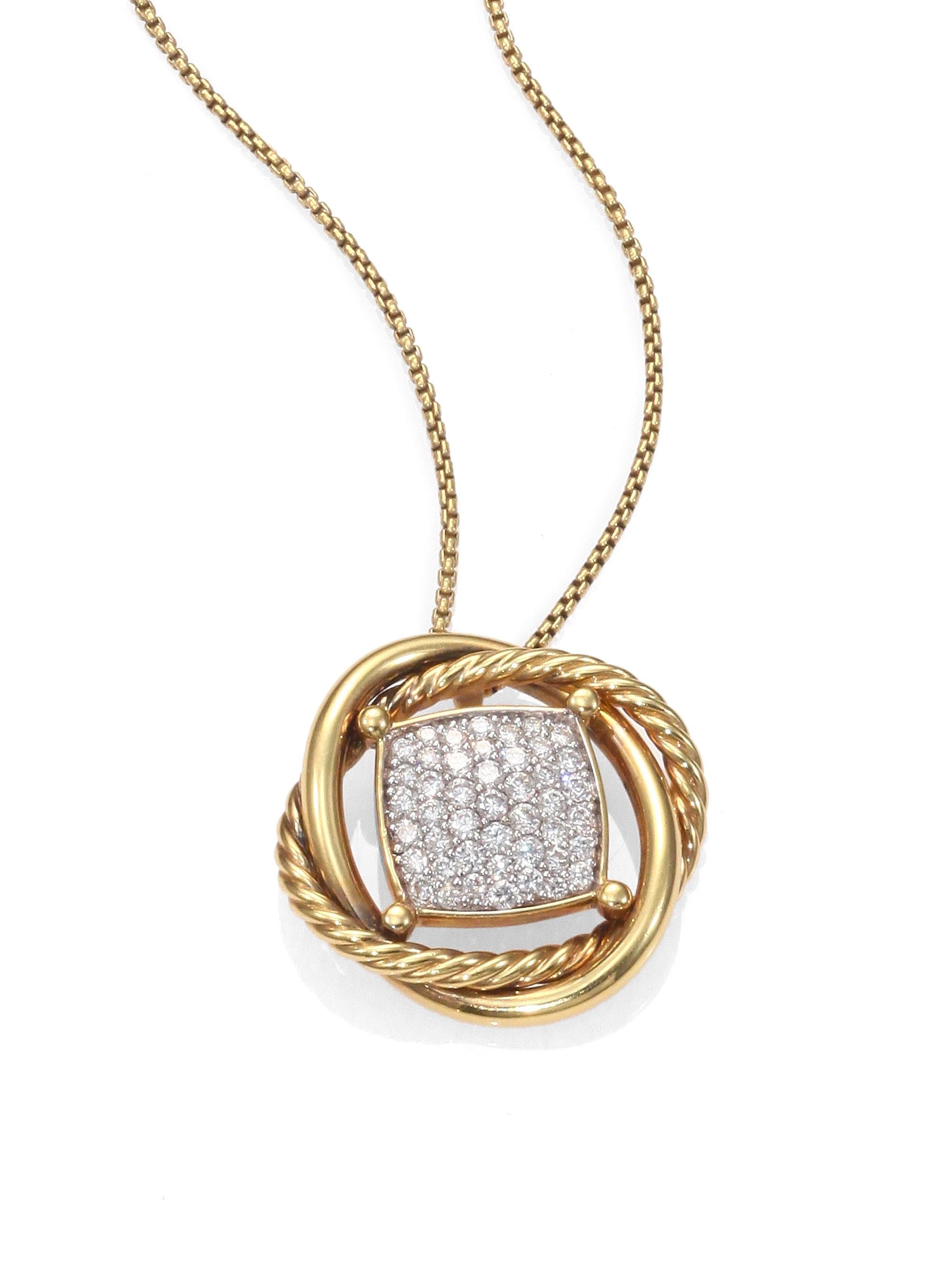 david yurman diamond and 18k gold pendant necklace in gold. Black Bedroom Furniture Sets. Home Design Ideas