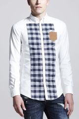 DSquared2 Longsleeve Mixed Fabric Shirt White - Lyst