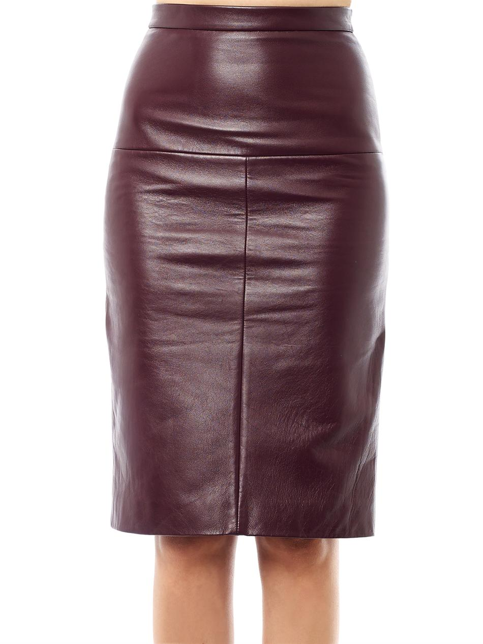 eudon choi terra leather pencil skirt in burgundy lyst