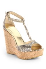 Jimmy Choo Pela Snakeembossed Metallic Leather Cork Wedge Sandals - Lyst