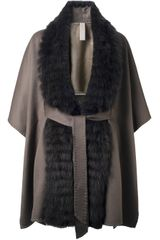 Liska Fur Trim Coat - Lyst