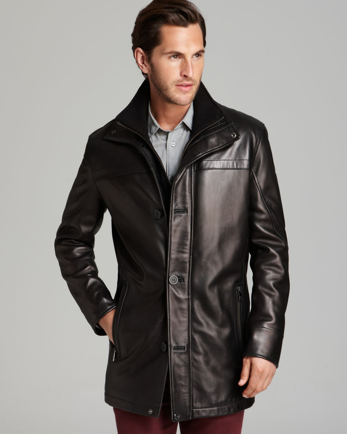 Marc new york Spruce Long Leather Jacket in Black for Men | Lyst