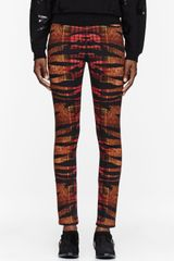 McQ by Alexander McQueen Orange Tiger and Tartan Print High Waisted Pants - Lyst