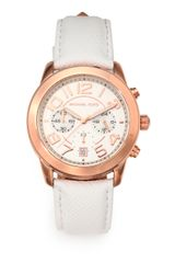 Michael by Michael Kors Rose Goldtone Stainless Steel Leather Chronograph Watch - Lyst